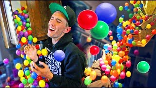 10,000 PLASTIC BALL BOOBY TRAP ON COREY! *3 times in a row*