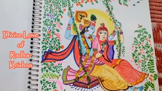 Drawing Radha Krishna on a Swing