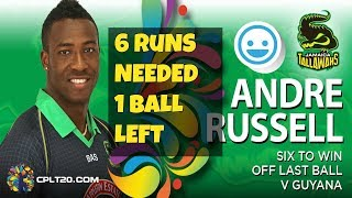 Andre Russell Last Ball Six Win In CPL T20 - Guyana Amazon Warriors vs Jamaica Tallawahs