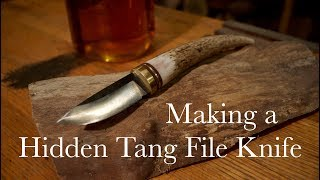 Making a Hidden Tang File Knife with Antler Handle