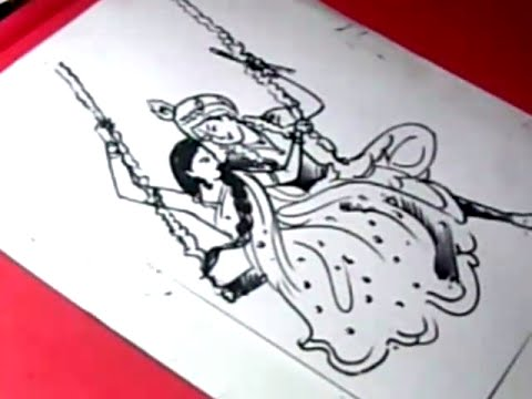 How to Draw LORD RADHA KRISHNA DRAWING for KIDS