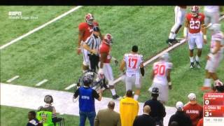 JK Scott of Alabama kicks a 73 yard punt in the Sugar Bowl 2015