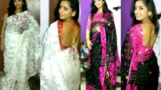 Desi/ Indian outfit of the : Styling dhakai jamdani saree.