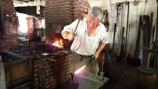 Blacksmith Ken Schwarz Forging the Market House Bell Clapper