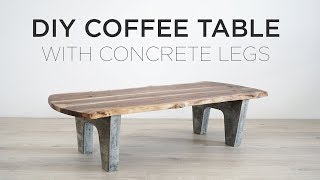 DIY Coffee Table with Concrete Legs