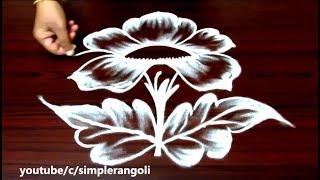 latest flower rangoli designs with 5x3 dots, simple muggulu designs with dots, easy kolam designs
