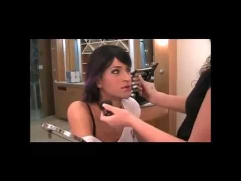 Crossdresser at MAC store getting makeup looks like Indian