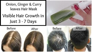 Visible Hair Growth in just 3 Days || Onion, Ginger & Curry leaves Hair Mask