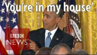 Moment Obama got heckled at LGBT reception - BBC News