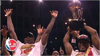 Toronto Raptors celebrate winning NBA Finals and Kawhi Leonard named Finals MVP   2019 NBA Finals