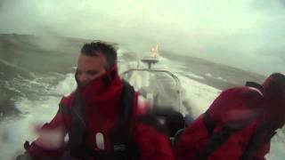 Eastbourne Force 7 by RIB rough sea and spray