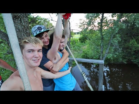 TRY NOT TO FALL OFF THE ZIP LINE CHALLENGE