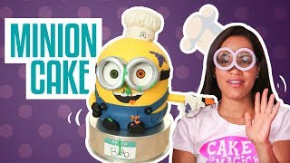 How To Make a BOB THE MINION...CAKE! Chocolate cakes, ganache, buttercream and fondant!!