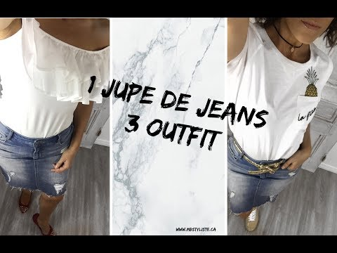 1 jupe jeans - 3 Outfit