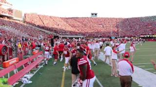Husker sideline after the fourth down stop to beat Oregon