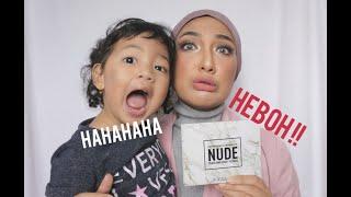 """Vlog make Up   Eyeshadow pallete """"Nude"""" Focallure Review- (Mekap digangguin Fara)"""