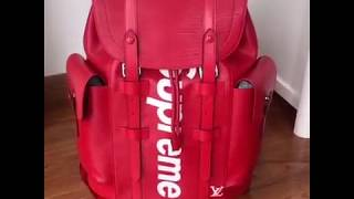 Louis vuitton X superme backpack red