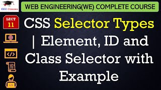 CSS Lecture 2 - Different CSS Selectors, Element, ID and Class Selector with Example
