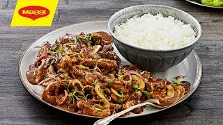 MAGGI Recipes: Spicy Beef Stroganoff وصفات ماجي: ستروغانوف اللحم الحرّ