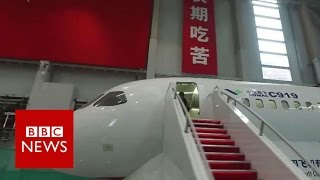 A tour of China's first big passenger jet - the C919 - BBC News