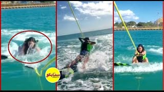 شاهد لحظة سقوط الممثلة مريم حسين في البحر !