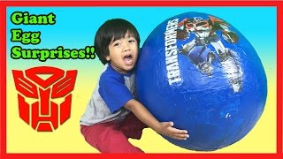 GIANT EGG SURPRISE OPENING TRANSFORMER Optimus Prime Batman Imaginext Robot Ryan ToysReview