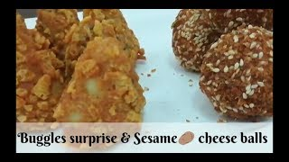 Buggles surprises & Sesame 🥔 cheese balls 🤩1st time on youtube/mozarella filled potato balls