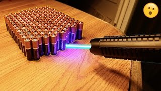 EXPERIMENT MOST POWERFUL LASER vs 100 BATTERIES!!