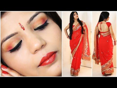 How To Do Indian Party Makeup And Wear Saree  | SuperPrincessjo