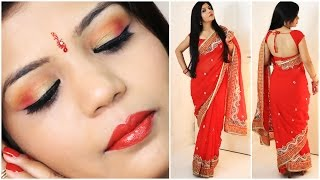 How To Do Indian Party Makeup And Wear Saree  | SuperPrincessjo