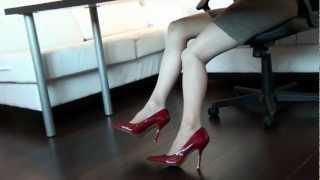 Jade's feet & heels - 4 inch red heels