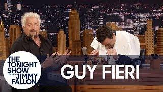 Guy Fieri Shows Jimmy His Bun-Cradling, Burger-Eating Technique