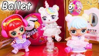LOL Surprise Dolls + Lil Sisters Do Ballet Recital with McDonalds Drive Thru Confetti Pop Toy Wave 2