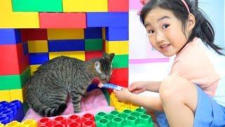 보람이의 거대블록 장난감 고양이 집만들기 Boram Play with Brick Block