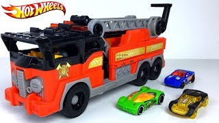 HOT WHEELS ULTIMATE GARAGE WITH FIRE RESCUE IMAGINEXT FIRE TRUCK AND RACE CARS - RESUCE STORY