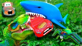 Disney Cars Lightning McQueen Dreams Chased Attacked Eaten by Shark Dinosaur Giant Spider Cars Movie