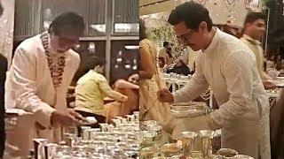 Amitabh Bachchan And Aamir Khan Serving Food At Isha Ambani Wedding