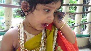 My cute baby wear a saree and funny phone call