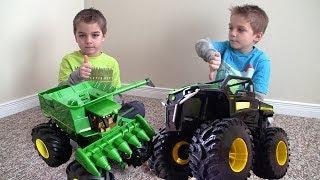 John Deere MONSTER TRUCK Tractor RUMBLE Toys in action!