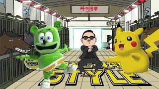 Pikachu Pokemon - Gangnam Style and I'm A Gummy Bear The Gummy Bear Song