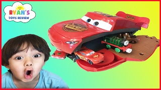 Disney Pixar Cars Toys Lightning McQueen Transformers Playset eats cars ! Egg surprise toy for kids