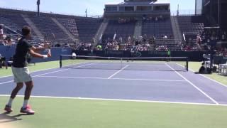 Juan Martín del Potro at 2013 US Open with Fabio Fognini (FRONT ROW) (HD)