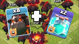 Clash Of Clans - 10 LAVALHOUNDS W/ CLONE SPELLS!!! (Mass raid against TH11)