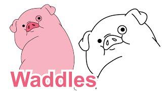 How to draw Waddles Gravity Falls Disney drawing for kids - Как нарисовать Гравити Фолз