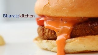 HOW TO MAKE MCDONALDS MC ALOO TIKKI BURGER - Recipe by bharatzkitchen