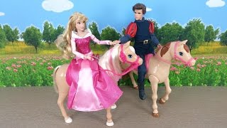 Disney Princess Barbie Horse Riding : Prince Philip Kisses Aurora
