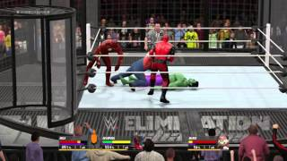 WWE 2K16 WTF Elimination Chamber Jason Vs Hulk vs Deadpool Vs The Flash vs Mario Vs Batman