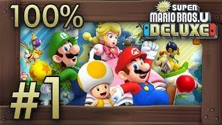 New Super Mario Bros. U Deluxe: 100% Walkthrough (4 Players) - World 1 - All Star Coins