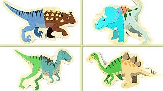 Dinosaurs Matching 3D Wooden Puzzle Game- Learn Names Of Dinosaurs In English- 공룡 입체 퍼즐 게임 장난감 恐竜