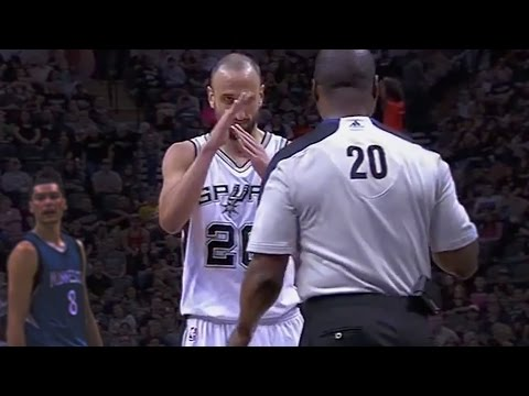 Manu Ginobili Gets Hit In the Face Calls Technical Foul on Referee